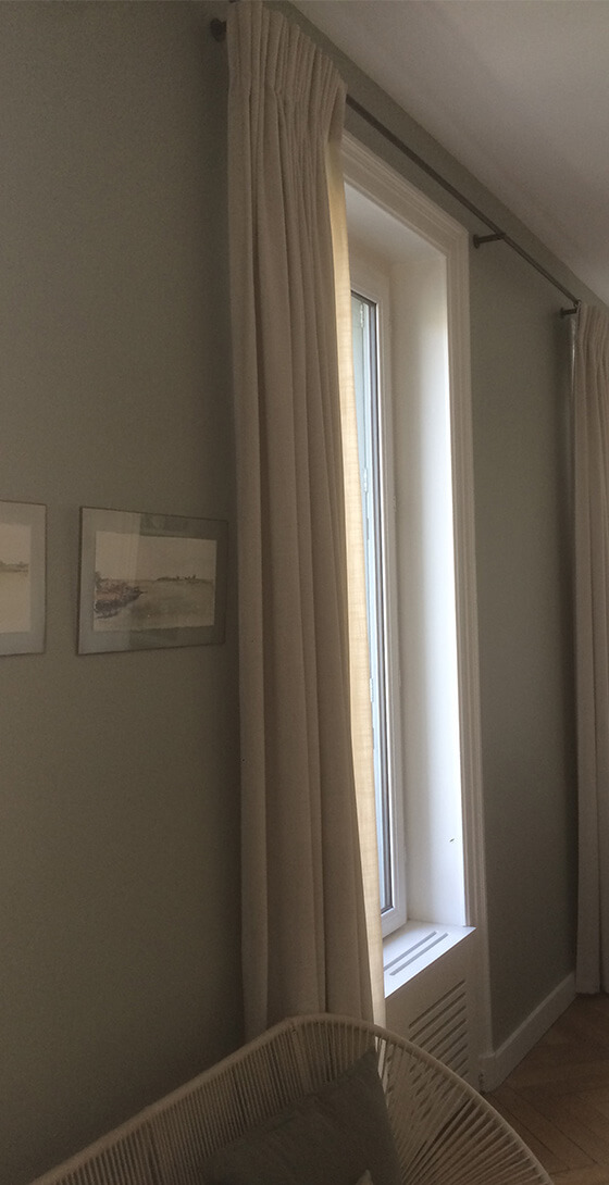 Rideaux à plis dans le tissu Tulum - Atelier St Germain